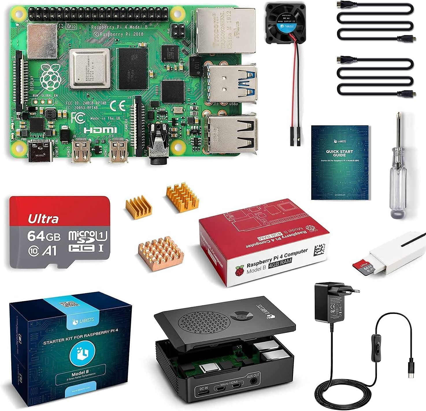 Raspberry Pi 4 4GB RAM con Tarjeta SD de 64GB Precargada con Raspberry Pi OS, Cable 5V 3A con On/Off, 2 Micro HDMI, 3 Disipadores de Calor, Ventilador, Caja Negra y Lector de Tarjetas