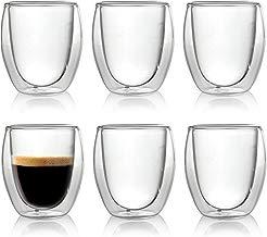 Caffé Italia Roma 6 x Juego de Vasos para Espresso 60 ml - Vasos Térmicos - para Bebidas frías, Calientes, té y Latte Macchiato - Aptos para lavavajillas