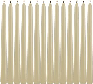 Light In The Dark Ivory Taper Candles - Set of 14 Dripless Candles - 10 inch Tall, 3/4 inch Thick - 7.5 Hour Clean Burning