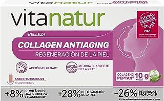 Vitanatur Collagen antiaging - Complemento alimenticio. Colágeno hidrolizado y ácido hialurónico. Ayuda a regenerar la piel y acción antiedad. 10 viales bebibles