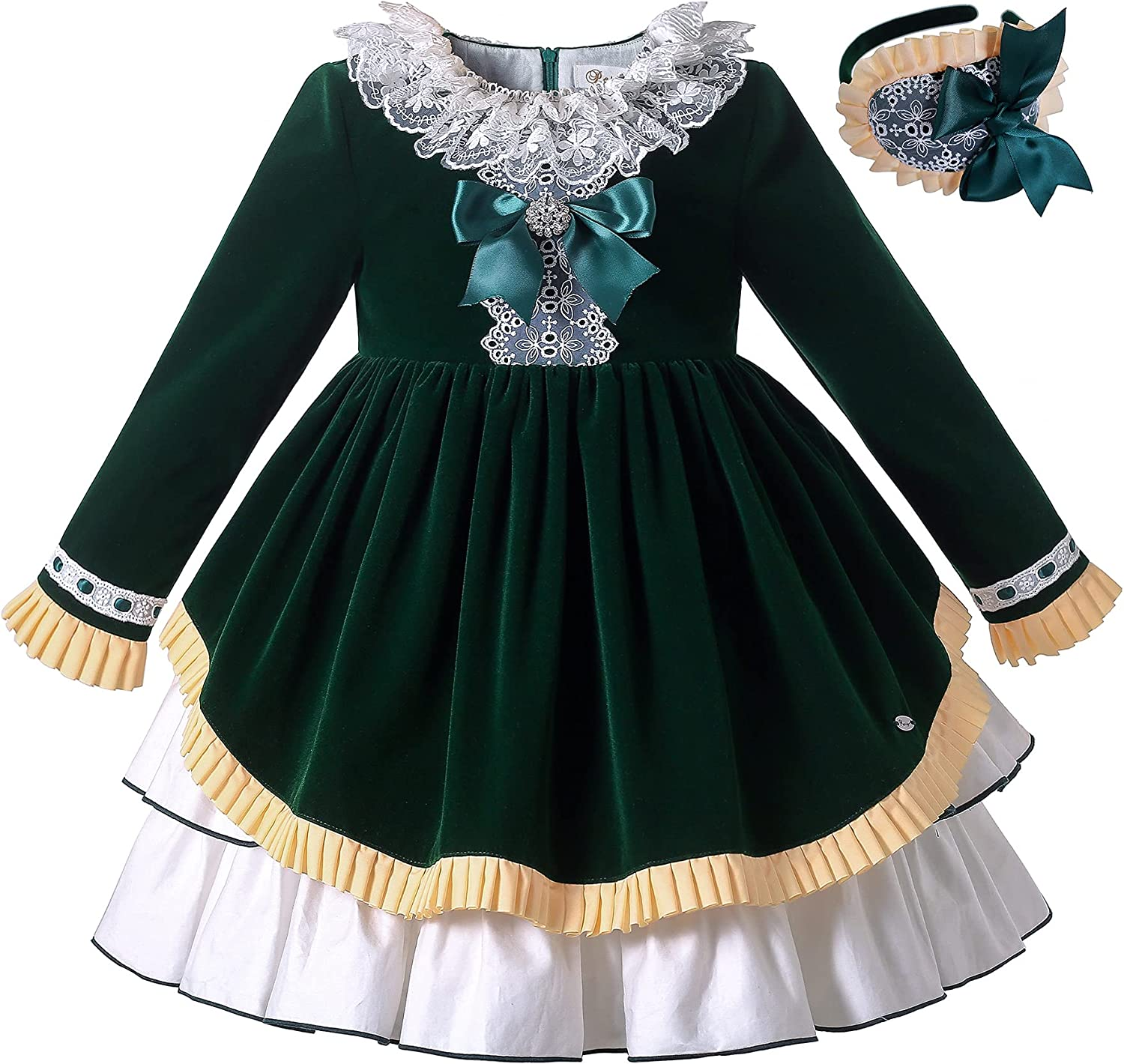 Pettigirl Girl Vintage Autumn Winter Christmas Long Special price Popular products for a limited time Sleeve Green