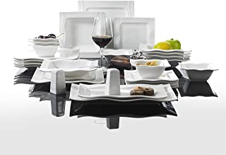 MALACASA, Série Mario, 28pcs Services de Table Complets Porcelaine, 6 Assiettes à Dessert, 6 Assiettes Plates, 6 Assiettes...