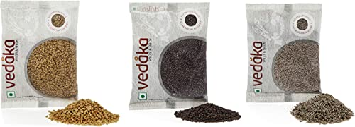 Amazon Brand Vedaka Spice Combo Cumin Seeds Jeera Mustard Seeds Rai Big Fenugreek Methi 600g 200g each