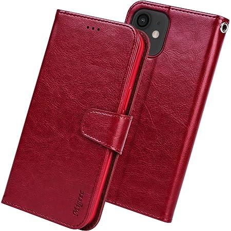 Migeec Funda para iPhone 12 / iPhone 12 Pro Funda con Tapa Tipo Billetera de 6.1 Pulgadas con Soporte para Tarjeta de crédito y Bolsillo - Rojo