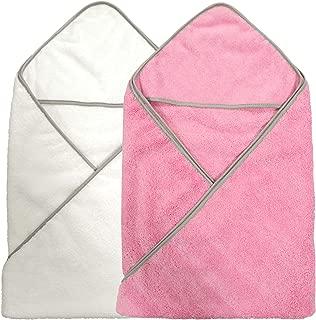 Polyte Premium Hypoallergenic Microfiber Hooded Baby Bath Towel, 36 x 36 in, 2 Pack (Pink,White)