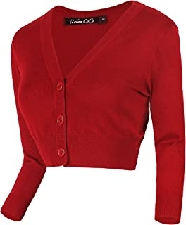 Women's Cropped Cardigan V-Neck Button Down Knitted Sweater 3/4 Sleeve