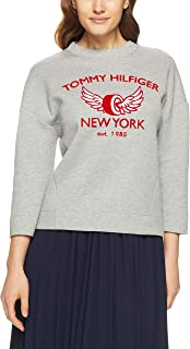 TOMMY HILFIGER Women's Abian Crew Neck Sweatshirt, Heather Light Grey