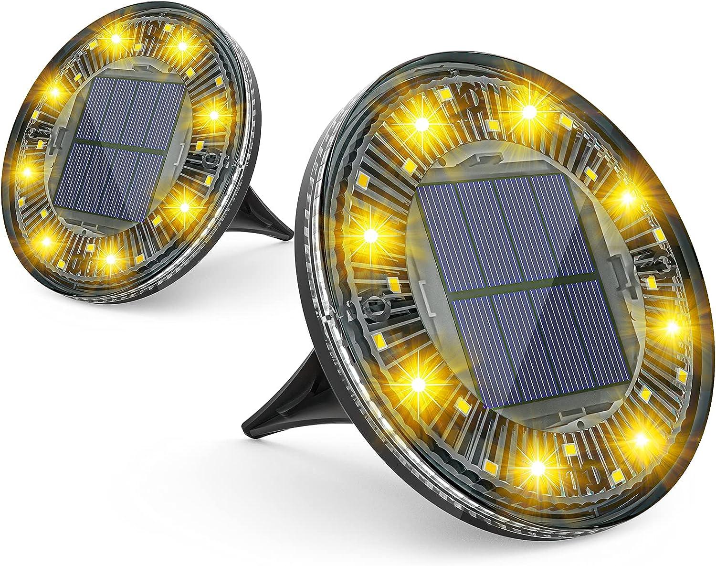 Very popular! LOFTEK Solar Ground Lights 24 LED with Rota Garden Dallas Mall