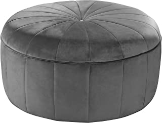 Meridian Furniture Tao Collection Modern | Contemporary Grey Velvet Upholstered Ottoman/Bench with Channel Tufted Design, Solid Wood Frame, 35