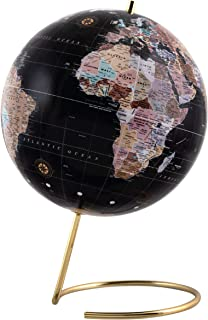 Refinery & Co. Desktop Globe, Vintage-Style Tabletop Home or Office Décor, Contemporary Decorative Spinning World with Gol...