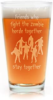 Funny Zombie Horde Engraved Pint Glass