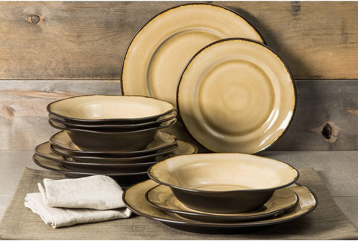 Better Homes And Gardens Modern Stoneware Construction 12 Piece Microwave Dishwasher Safe Dinnerware Set Dijon Gold