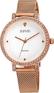 August Steiner Women's Colorful Crystals Watch - Crystals Crystal Bezel and Diamond Hour Marker on Stainless Steel Mesh Ba...