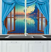 Ambesonne Kitchen Decor Collection, Window View of the Ocean Sea Image Sunset Modern Home Cafe Decor Scenery Clouds Sky, Window Treatments for Kitchen Curtains 2 Panels, 55X39 Inches, Blue Aqua Brown