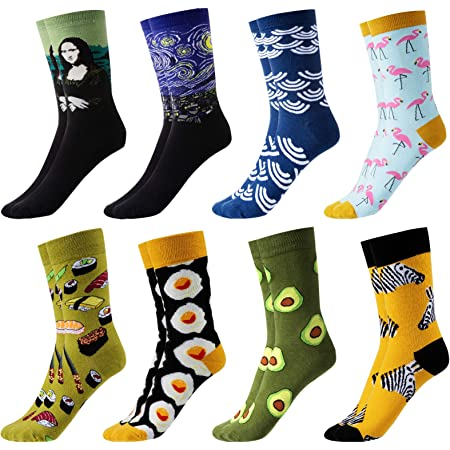 GuKKK Calcetines Estampados, 8 Pares Calcetines Hombres Mujer Divertidos, Calcetines Algodon Estampados Impresos de Pintura de Arte, Ocasionales Calcetines Divertidos, Calcetines de Colores