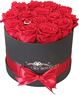 The Luxury Bouquet Premium Quality Classic Red Roses, Preserved in Round 8-inch Black Box, Everlasting Eternity Forever Rose Decorations no Water Need.