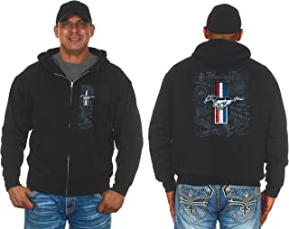 JH Design Group Mens Ford Mustang Tri-Bar Pony Distressed Collage Zip-Up Hoodie