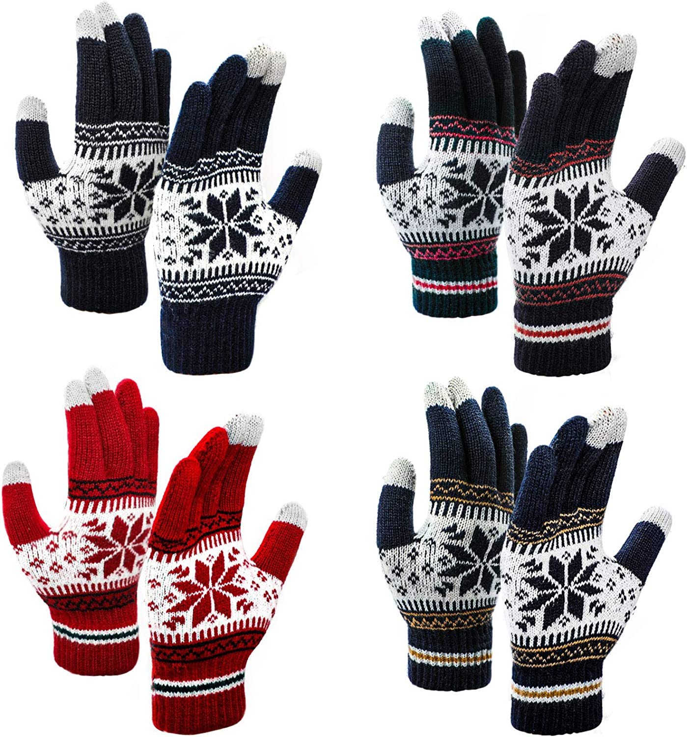 PAFUWEI 4 Pairs Touch Screen Gloves