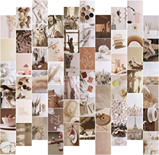 60PCS Photo Collage Kit for Wall Aesthetic with 30 PCS Wooden clamp and 10M Hemp Rope 4'x6 inch Boho Cards Warm Color Room...
