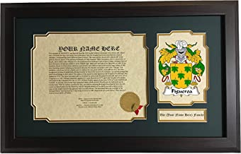 Figueroa - Coat of Arms and Last Name History, 14x22 Inches Matted and Framed