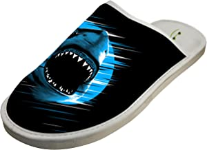Jane-LEE Shark Moon Lines shark House Slippers/Cotton Slippers/Flat Shoes/Indoor Slippers