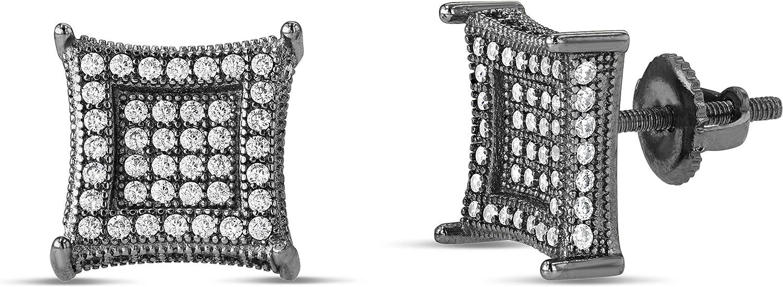 Men Women Iced Out 18k Gold Black Finish Lab Diamond CZ Screwback Stud Earings 11MM aretes para hombre - Mens Earrings, Screw Back, Men's Jewelry, Hip hop Earring