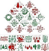 Gejoy 28 Pieces Christmas Stencils Plastic Drawing Stencils Christmas Templates Santa Claus, Snowflakes, Christmas Tree, Elk Pattern Stencils for DIY Craft Painting