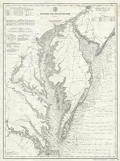 Historic 1893 U.S. Coast Survey Nautical Chart or Map of The Chesapeake Bay and Delaware Bay - 24 x 32in Fine Art Print
