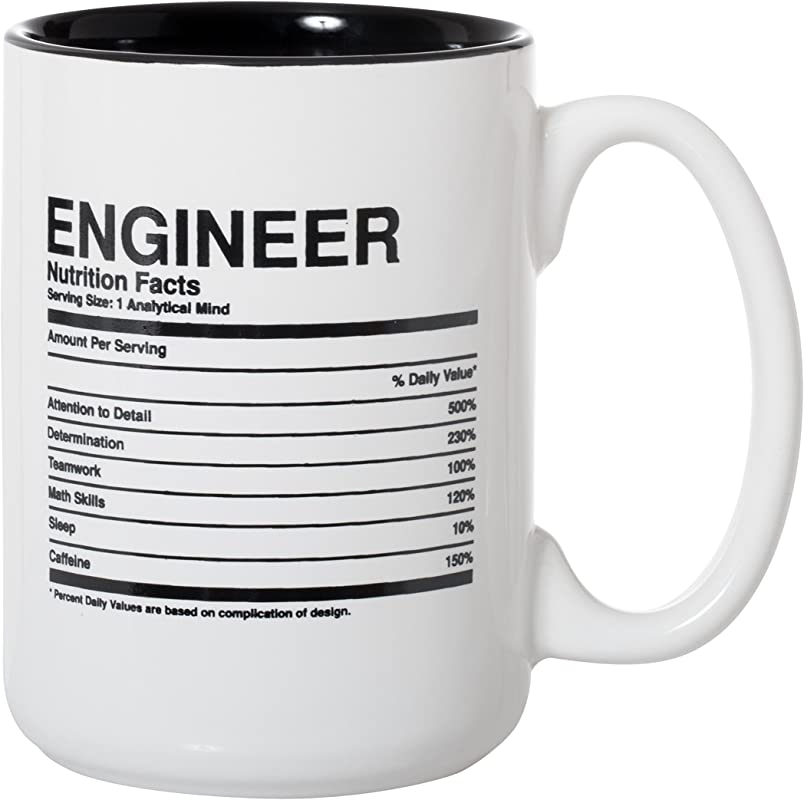 Engineer Nutritional Facts Ingredients Label Mug Engineer Gift Mug 15oz Deluxe Double Sided Coffee Tea Mug