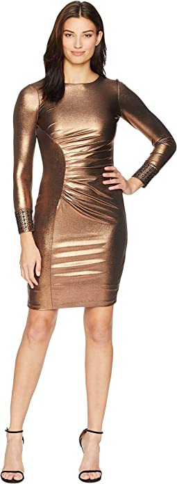 Metallic Side Ruch Sheath with Embellished Cuff CD8BA695