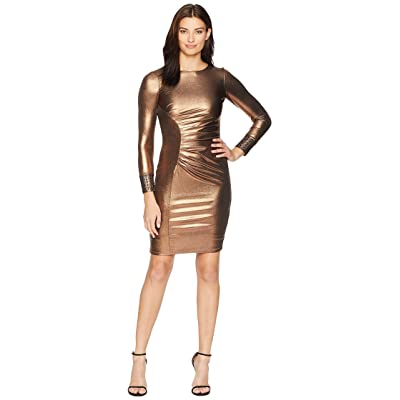Calvin Klein Metallic Side Ruch Sheath with Embellished Cuff CD8BA695 (Copper/Black) Women