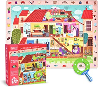 Mideer Detective in Room Toddler Jumbo Floor Puzzles with Hidden Picture Game, 35 Thick Paperboard Jigsaw Pieces and A Mag...