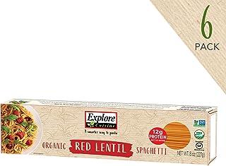 Explore Cuisine Organic Red Lentil Spaghetti (6 Pack) - High Protein, Gluten Free Pasta, Easy to Make - USDA Certified Organic, Vegan, Kosher, Non GMO - 24 Total Servings