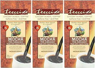 Teeccino Chicory Coffee Alternative - Mocha - Herbal Coffee | Ground Coffee Substitute | Prebiotic | Caffeine Free | Acid Free | Medium Roast, 11 ounce (Pack of 3)