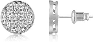 18K Gold Plated Cubic Zirconia Pave Disc Stud Earrings