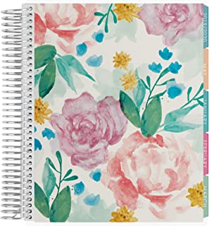 Erin Condren 12 - Month 2020 Coiled Life Planner 7x9 (January - December 2020) - Watercolor Blooms, Horizontal(Colorful Layout)