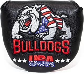 Golf Putter Cover,Golf Club Head Covers Blade Mallet Putter Headcover Leather Golf Putter Cover with Magnetic Closure & Bulldog Design for Scotty Cameron Odyssey (Mattle Putter Cover (Black)
