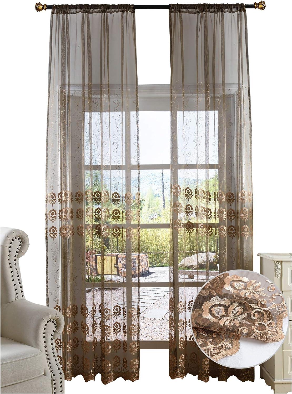 特別セール品 BW0057 Classic 評価 Europern Style Flower Sheer Embroidered Curtain W