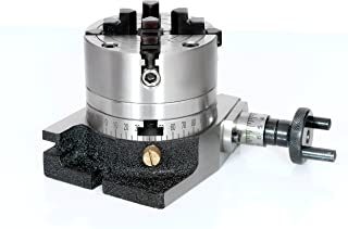 """New 3""""/ 80 mm Regular Rotary Table & 80 mm Independent 4 Jaw Chuck+Back Plate for Milling Engineering Tools"""
