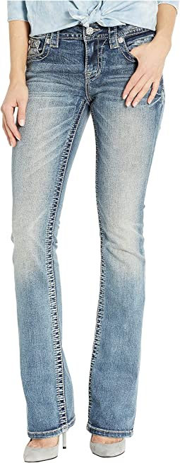 Back Pocket Embellished Bootcut Jeans in Light Blue