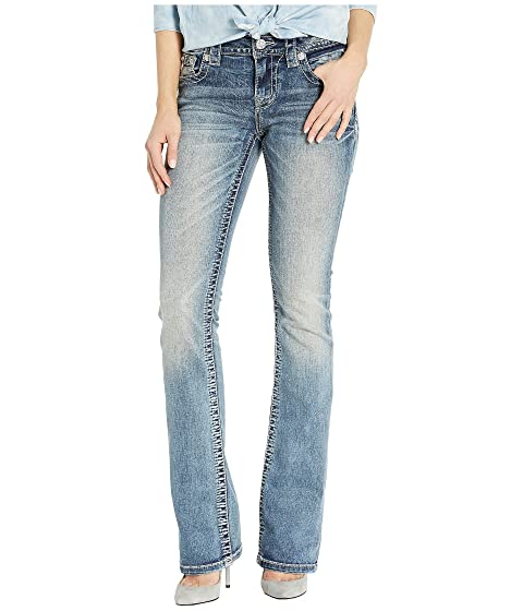 Miss Me Back Pocket Embellished Bootcut Jeans in Light Blue