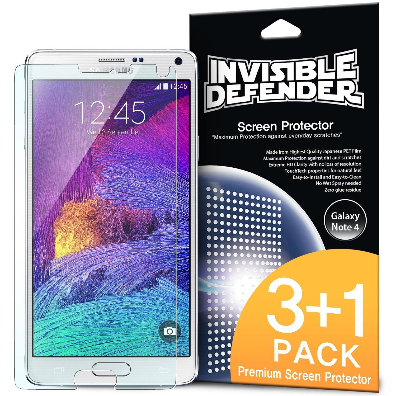 Ringke Invisible Defender [4 Pack] Compatible con Samsung Galaxy Note 4, Protector de Pantalla [HD CLARIDAD] High Definition (HD) Claridad Film Prima Extremadamente Clara para Galaxy Note 4: Amazon.es: Electrónica
