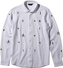 マンシングウェア 長袖フルオープンシャツ ホワイト キャンプ柄刺繍 アウトドア ゴルフ EVEN別注