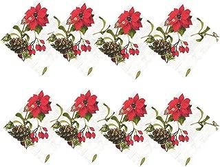 Newbridge Blooming Poinsettia's Christmas Fabric Napkin Set, Traditional Red and White Poinsettia Print Easy Care, Stain Release Napkins, Set of 8 Fabric Napkins