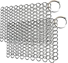 2 Pack Cast Iron Cleaner, Stainless Steel Cast Iron Skillet Cleaner, Chainmail Scrubber for Cast Iron Metal Cookware, 4 inchs