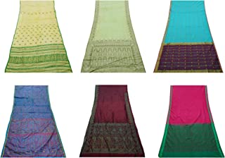 Peegli Lot of 6 Indian Home Decorative Saree Handmade DIY Sewing Craft Fabric Multicolor Wholesale Bundle Sari Art Décor Throw Assorted DIY Fabric Curtain Drape Women Vintage Used Sari