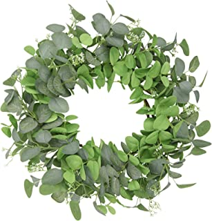 HEBE Artificial Eucalyptus Wreath 22inch Artificial Spring Summer Greenery Hanging Garland Green Leaf Wreath for Front Doo...