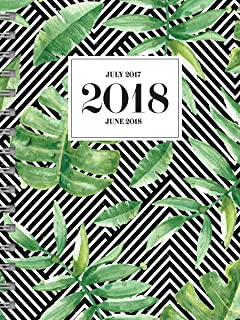 TF Publishing 2018 Academic Striped Jungle 6.5x8 Daily Weekly Monthly 6.5x8 Planner, July 2017-June 2018, Black and Green (18-9205A)