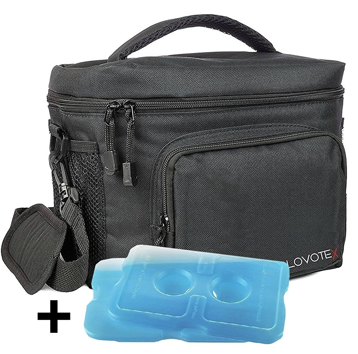 Large Insulated Lunch Bag Cooler Tote With 2 Reusable Cooler Ice Packs Easy Pull Zippers, Detachable Shoulder Strap, Roomy Compartments For Lunch Box, Bottles, Containers, Travel, Camping & More