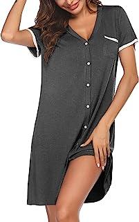 Ekouaer Short Sleeve Nightgowns for Women, Cute Sleepwear Button Down Sleep Shirt Dress
